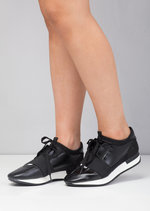 Lace Up Elastic Strap Trainers Black