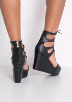 Lace Up Faux Leather Platform Wedge Heeled Sandals Black
