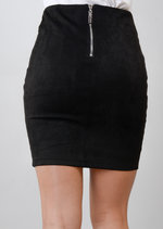 Lace Up Faux Suede Bodycon Skirt Black