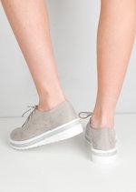 Lace Up Faux Suede Flatform Flats Grey