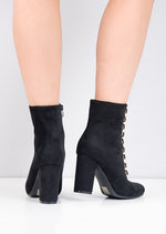 Lace Up Faux Suede Military Style Ankle Boots Black