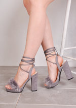 Lace Up Feather Heeled Sandals Suede Grey
