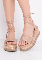 Lace Up Metallic Glitter Flat Espadrille Sandals Rose Gold