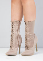 Lace Up Pointed Toe Stiletto Heeled Sock Boots Beige