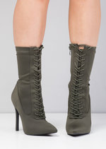 Lace Up Pointed Toe Stiletto Heeled Sock Boots Green