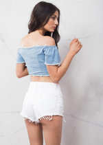 Lace Up Short Sleeve Denim Crop Top