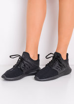 Lace Up Stretchy Trainers Black