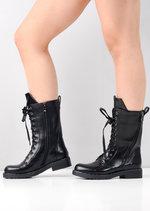 Block Heel Lace Up Studded Mid Calf Biker Boots Black