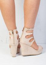 Lace Up Suede Platform Wedge Heeled Sandals Beige