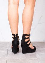 Lace Up Suede Platform Wedge Heeled Sandals Black