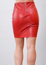 Lace Up Faux Leather Bodycon Mini Skirt Red
