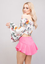 Layered Frill Floaty Mini ShortsSkirt Skort  Hot Pink