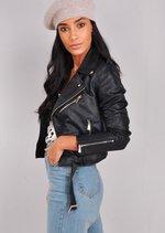 Leather Look Cropped Biker Jacket Black