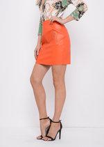 Leather Look Mini Skirt Orange