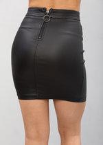 Leather Look Tie Split Mini Skirt Black
