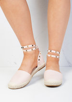 Faux Leather Studded Espadrilles Pink