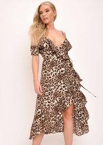 Leopard Print Frill Detail Midi Dress Multi
