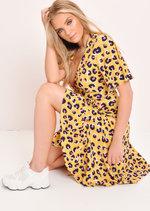 Leopard Print Wrap Front Midi Dress Yellow