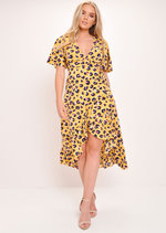 Leopard Print Wrap Front Midi Dress Yellow