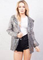 Transparent Leopard Waterproof Rain Mac Coat Festival Hooded Jacket Black