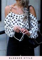 Polka Dot Long Sleeve Bardot Top White