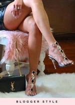 Jewel Embellished Perspex Clear Strap Stiletto Heels Black