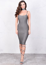 Lightweight Metallic Bodycon Midi Dress Grey Silver