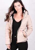 Lightweight Quilted Puffer Padded Jacket Coat Stone Beige