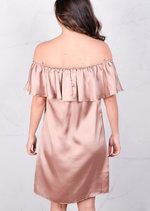 Lightweight Satin Off The Shoulder Frill Bardot Dress Nude