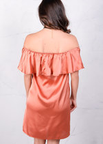 Lightweight Satin Off The Shoulder Frill Bardot Dress Rust Copper