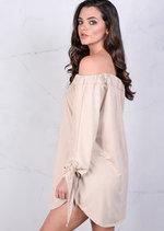 Lightweight Soft Touch Faux Suede Buttoned Bardot Dress Beige