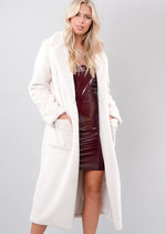 Fluffy Long Length Faux Fur Coat Cream White