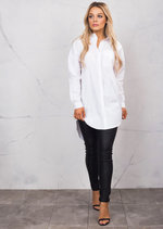 Dip Hem Long Sleeve Oversized Shirt Dress White