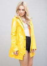 Longline High Shine Rain Mac Festival Hooded Jacket Yellow