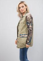 Longline Sequin Embellished Utility Jacket Khaki