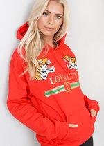 Loyalty Tiger Slogan Hooded Jumper Loungewear Red