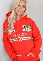 Loyalty Tiger Slogan Hooded Jumper Red