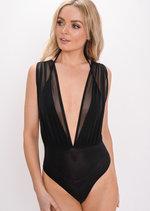 Mesh Plunge Sleeveless Bodysuit Black