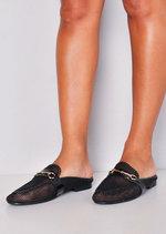 Mesh Slip On Backless Mule Loafers Black