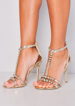 Metallic Bead Studded Strappy High Heeled Sandals Gold