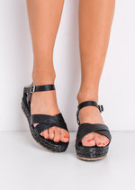 Metallic Cross Front Espadrille Wedge Sandals Black