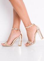 Metallic Embellished Perspex Strap Heeled Sandals Gold