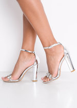 Metallic Embellished Perspex Strap Heeled Sandals Silver