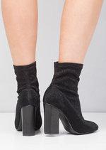 Metallic Glitter Stretch Sock Ankle Boot Black