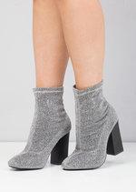 Metallic Glitter Stretch Sock Ankle Boot Silver