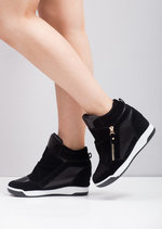 Metallic Hi Top Wedge Trainers Black