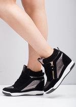 Silver Metallic Hi Top Wedge Trainers Black