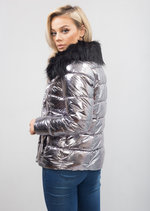Metallic High Shine Padded Puffer Jacket Coat Silver