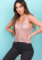 Metallic Knitted Sequin Crop Cami Vest Top Pink