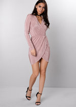 Metallic Pleated Wrap Over Skater Dress Pink